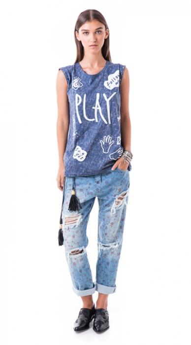 ג'ינס קרעים פרחוני