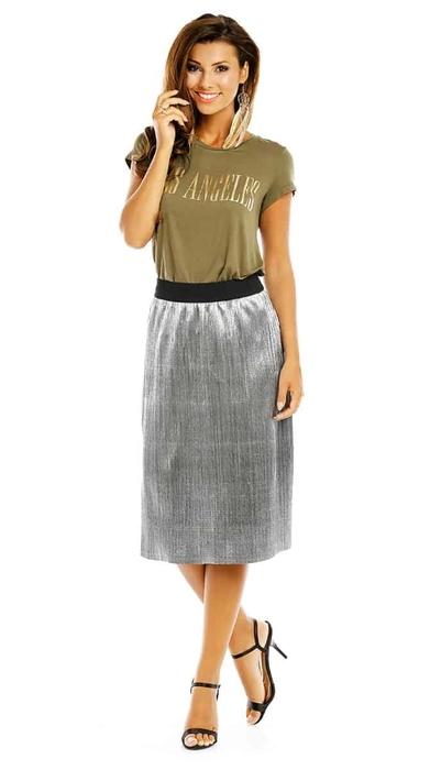חצאית מטאלית כסף