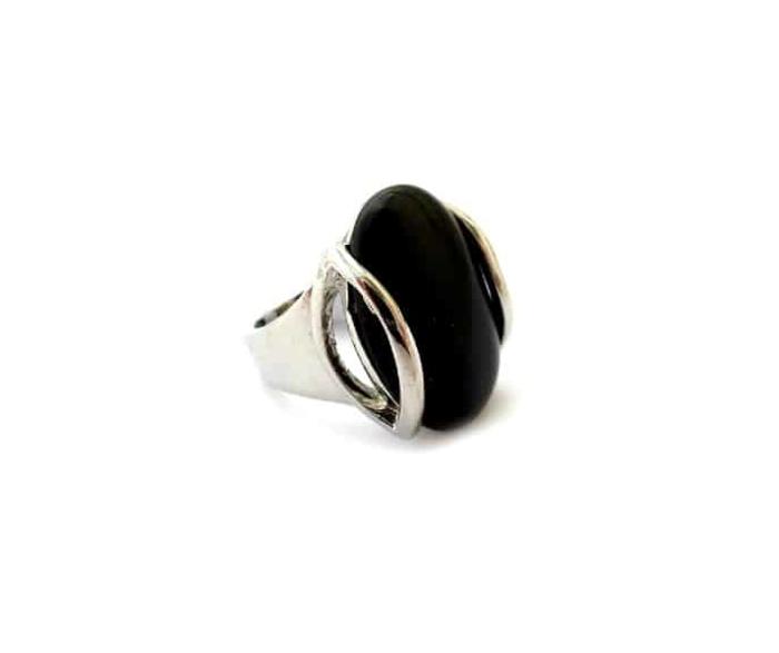 טבעת בלאק סטון אובלית