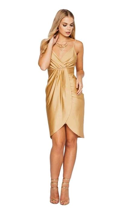 שמלת מעטפת סאטן זהב -אחרונה מידה 36